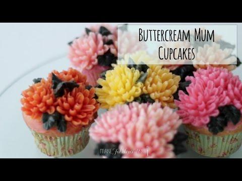 Buttercream Chrysanthemum Flowers Cupcakes