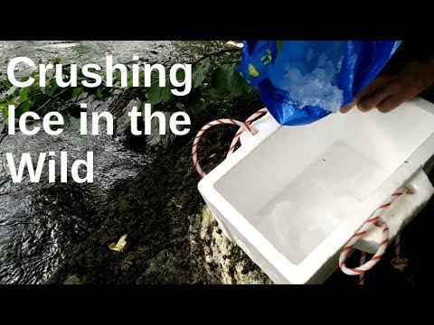 Making ice for camping cooler, cool box ice