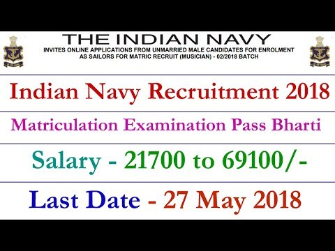 Indian Navy Recruitment 2018 for 10th 12th 10+2 Pass Sailor Apply Online || joinindiannavy.gov.in