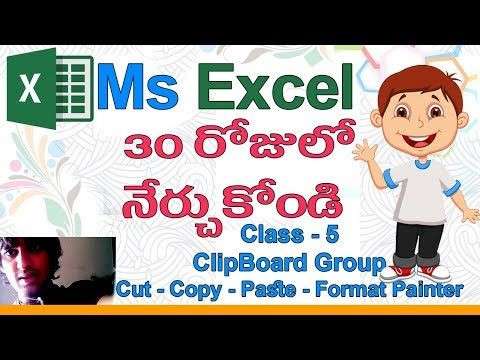 Ms Excel in Telugu | Telugu Ms Excel Classes | Class - 5 |🌴| Cut | Copy | Paste | Format Painter