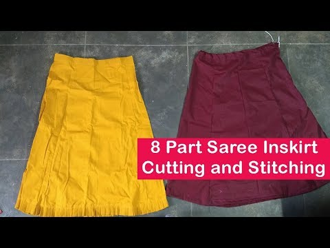 8 part saree inskirt cutting and stitching in Tamil | 8 Piece Saree petticoat cutting and stitching
