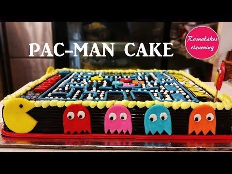 Pac Man Cake decorating tutorial pacman :video games
