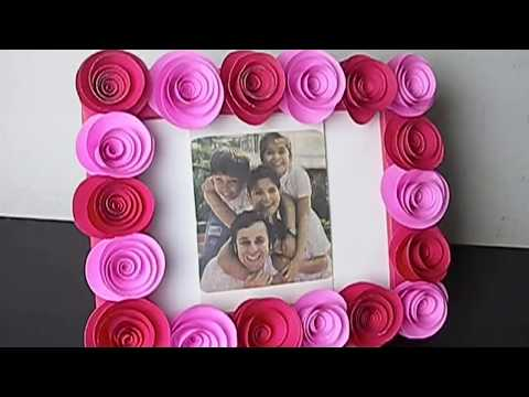 DIY - How to Make Paper Rose Photo Frame Tutorial