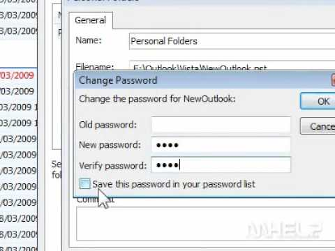 How to change the password of an Outlook PST file and save the password in your password list