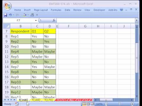 Excel Magic Trick #168: Cross Tabulation For a Survey