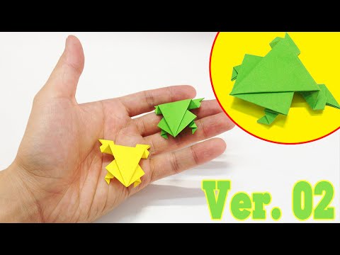 Kids easy origami - How to make a jumping frog ver.2