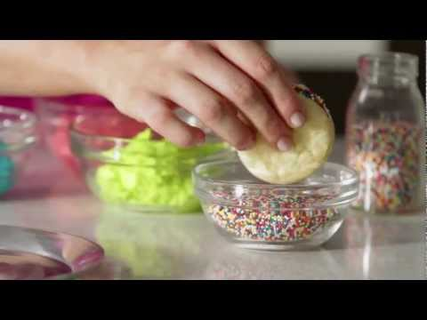 Cake Batter Cookie Stackers (Easy Sugar Cookies with Rainbow Frosting)