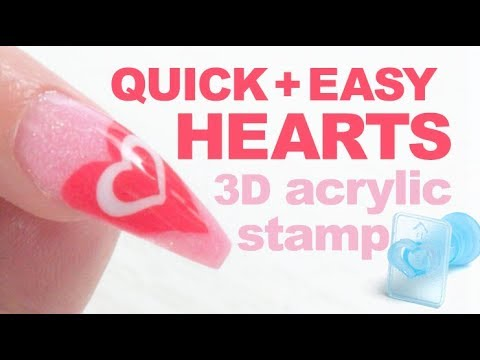 Easy Acrylic Heart Nail Design Using Chisel Nail Art 3D Stamps and Edger