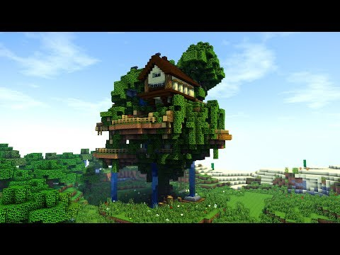 Minecraft: How To Build a TREE Village / BIG TreeHouse Tutorial [ How to make ] 2018