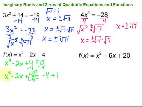 Imaginary Roots & Zeros of Quadratic Equations & Functions