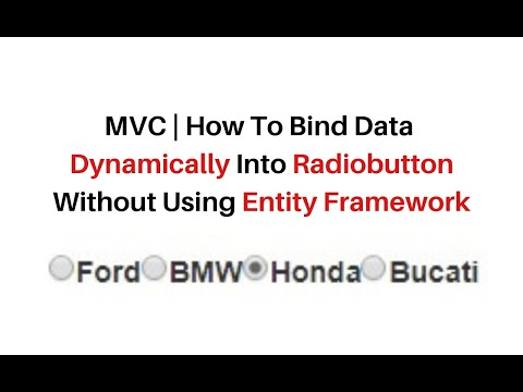 mvc bind data from database into radiobutton without entity framework