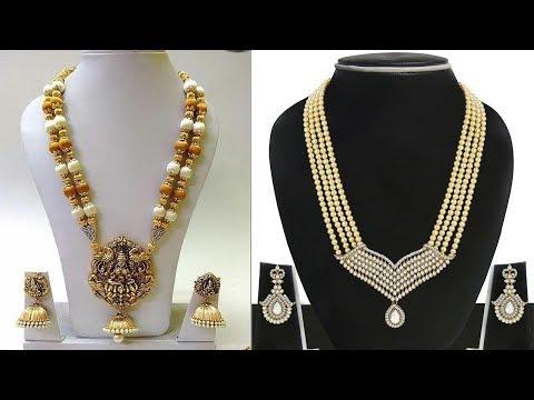 Latest Lakshmi Jewellers Gold Pearl Necklace Designs - She Fashion