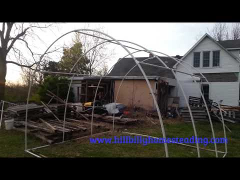 Expanding A Rabbitry and Building a PVC Hoop House to Shelter Rabbits and Cages