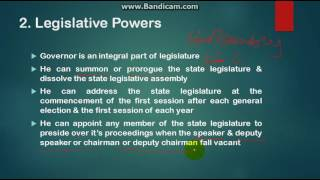 What are Powers of Governor?
