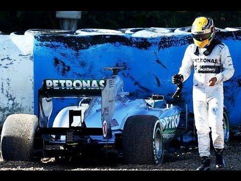 Lewis Hamilton crashes Mercedes In Testing