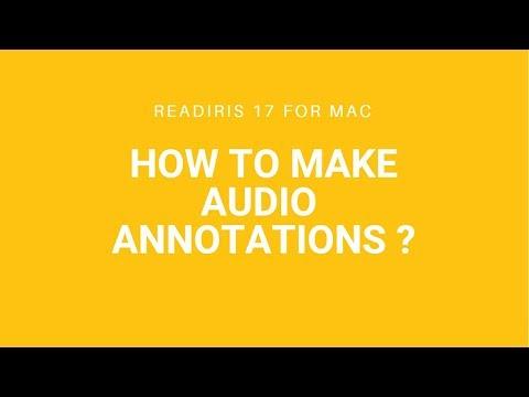 Readiris 17 Mac: Audio annotation