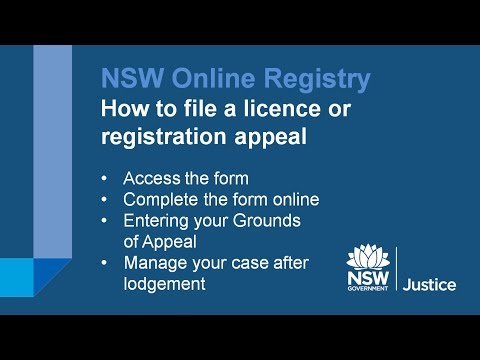 NSW Online Registry - Licence and Registration Appeals (updated 10/10/14)