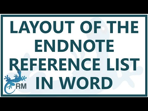 Endnote reference list: How to change the layout of the reference list in Word using Endnote x7