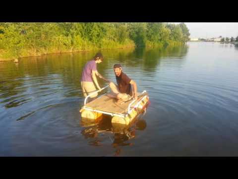 homemade $30 pontoon boat maiden voyage