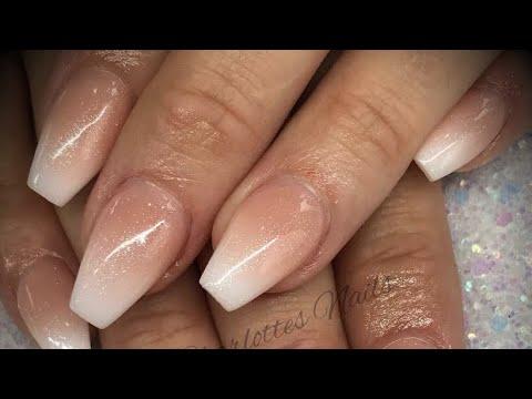 Acrylic nails - ombré with shimmer