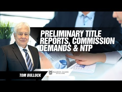 Preliminary Title Reports, commission demands and NTP - California Contracts & Compliance