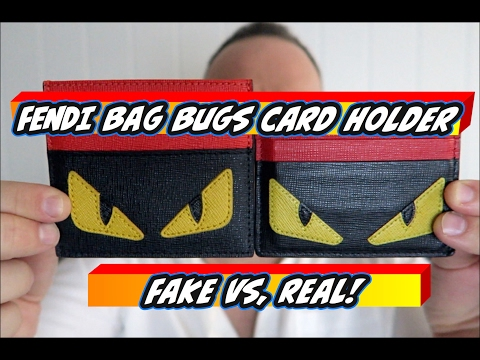 Non Genuine (Fake) Vs.Original - FENDI BAG BUGS 6 Card Holder
