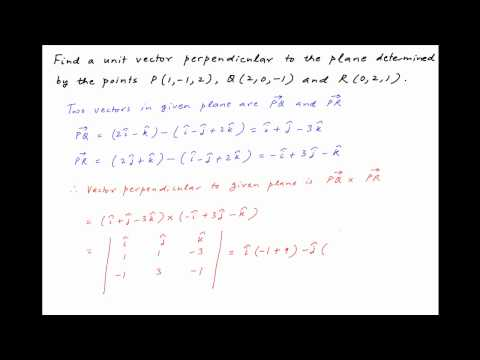 [IIT 1994] Find vector perpendicular to plane containing points P (1,-1,2), Q (2,0,-1) & R (0,2,1).