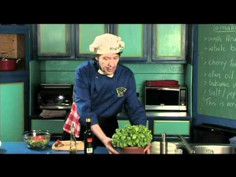 Arugula Basil Tomato Salad - Olive Oil, Balsamic Vinegar Dressing - homemade, healthy