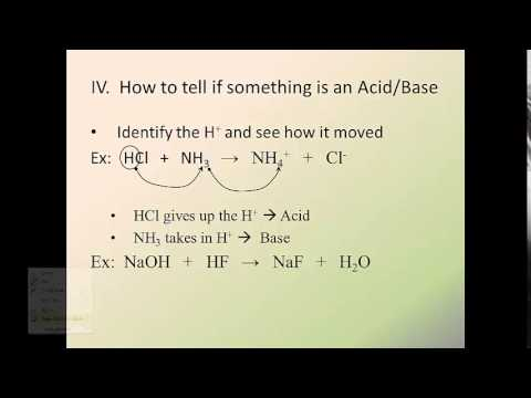 Acids and Bases 2--How to identify an Acid or Base