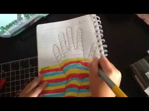 How to make 3D hand art using lined paper!