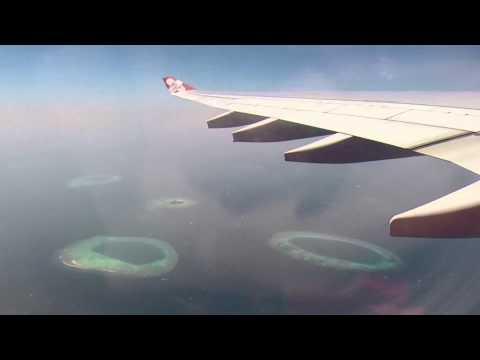 Aerial view of Maldives, flight to Kuala Lumpur