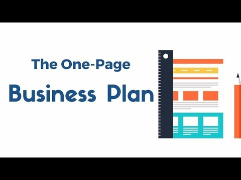Lesson 8:   The One Page Business Plan