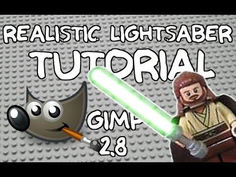GIMP 2.8 Realistic Lightsaber Tutorial (WORKS FOR LEGO OR REAL LIFE)