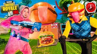 FORTNITE 24 Hour Durr Burger BOX FORT Challenge Vs Zombies (Nerf Battle)
