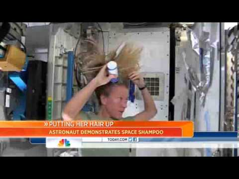 Watch astronaut wash her hair in zero gravity