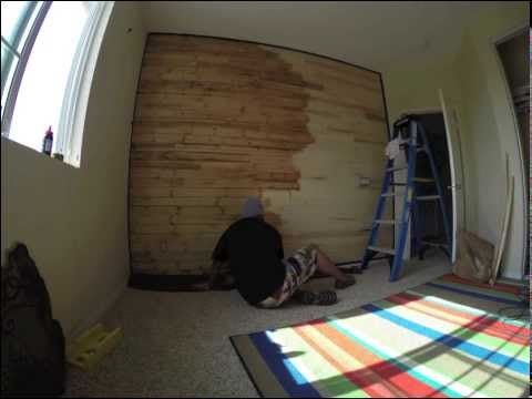 Time Lapse video of me staining my son's wood paneled accent wall.