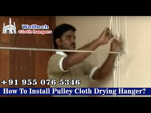How To Install Pulley Cloth Drying Hanger?, Ceiling /Roof Welltech cloth hangers,Hyderabad,India.