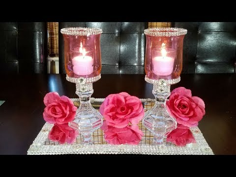 DIY pink candle holders / How to tint glass
