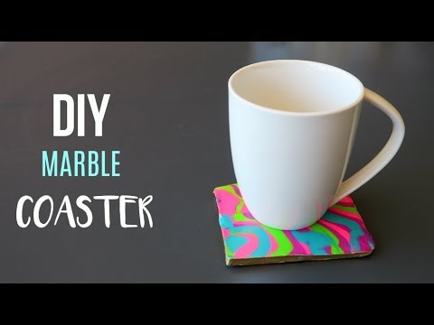 EASY DIY MARBLE CLAY COASTERS | DIY NEON COASTERS