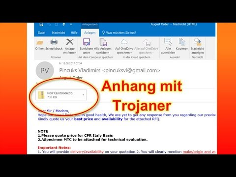 Warnung: New Quotation August Order. Trojaner in Email Anhang