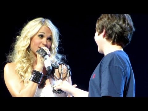 Boy's first kiss from Carrie Underwood