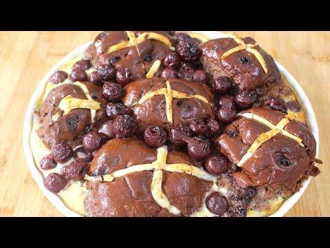 Chocolate & Cherry Hot Cross Buns - Leftover Easter Dessert!