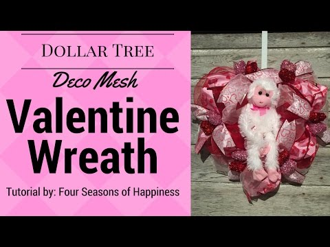 Dollar Tree Valentines Wreath, deco mesh heart wreath, dollar tree heart wreath
