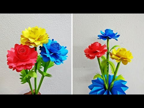 How to Make Paper Rose Flower | Making Paper Flowers Step by Step | Paper Craft | Craftastic