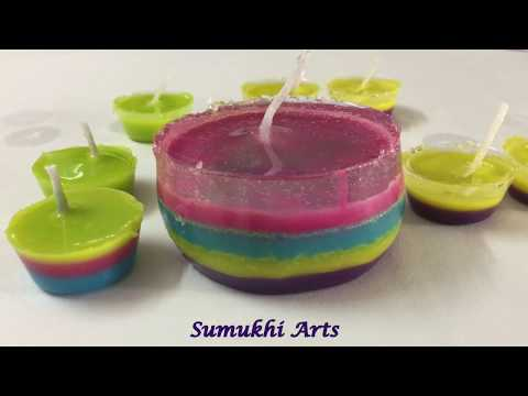 How to make floating candles at home|Diwali and Christmas decoration ideas/Multi color Gel candles