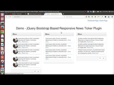 jQuery Bootstrap Based Responsive News Ticker Plugin
