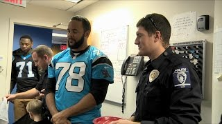 Panthers Surprise Police Officers and Firefighters with Pizza Delivery