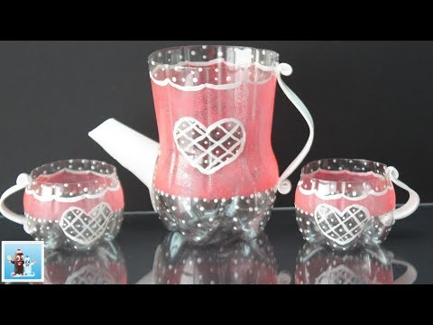 How to Make an Amazing Tea Pot and Cups from Cola Plastic Bottles - Art and Craft Ideas