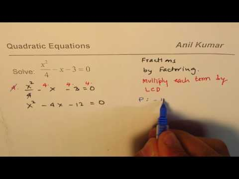 Find solution of Quadratic Equation with Fractions
