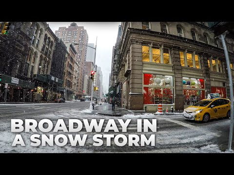 ⁴ᴷ Walking Broadway during a Snow Storm from Times Square to South Ferry